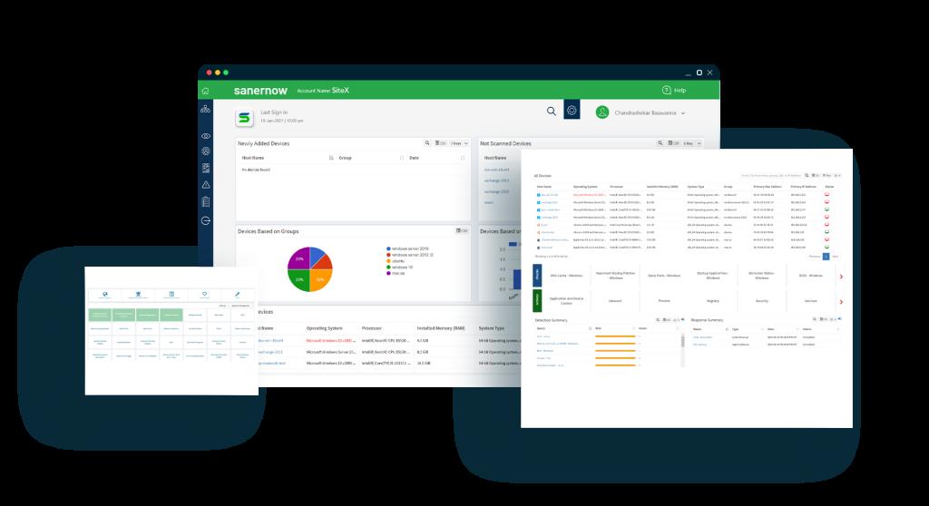 SanerNow Endpoint Management Software Dashboard