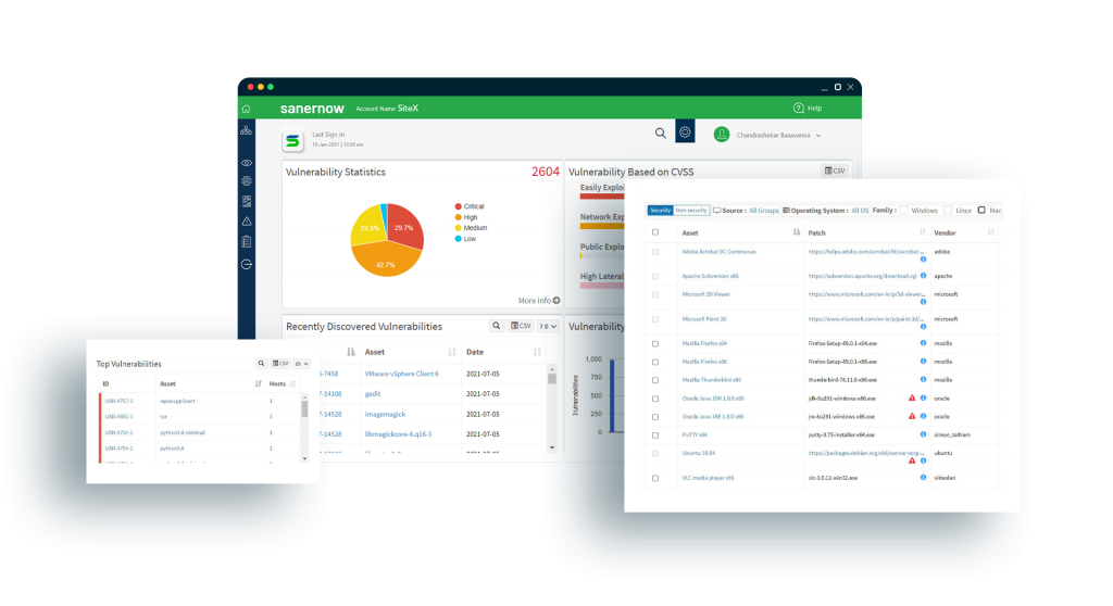 SanerNow Vulnerability Management Software with its various features